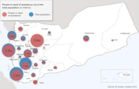La situación humanitaria en Yemen es en la actualidad una de las más catastróficas del mundo. Fuente: Naciones Unidas.