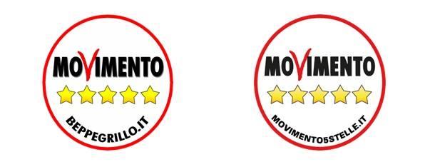 En el logotipo de la izquierda, que fue el usado por la organización hasta 2015 figura la dirección web del blog de Grillo. Es un excelente ejemplo de la importancia y personalismo de Grillo dentro del Movimiento Cinco Estrellas