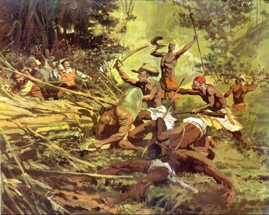 La formación de quilombos en Brasil durante la época colonial a menudo dio como resultado violentos choques entre los esclavos liberados y las autoridades coloniales