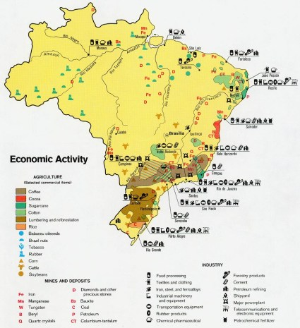 La geografía económica de Brasil explica en parte el MST. La actividad de cierto valor está en la costa y al sur del país, no en el norte. Fuente: Universidad de Texas