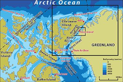 Ubicación de la Isla de Hans, entre Groenlandia (Dinamarca) y la isla de Ellesmere (Canadá). Fuente: Canadian Geographic 2005.