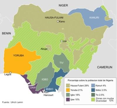 A la brecha del norte musulmán y el sur cristiano se le suma la mezcla étnica en Nigeria. Fuente: Ikuska