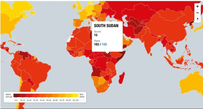 Sudán del Sur, uno de los países más corruptos del mundo. Fuente: Transparencia Internacional