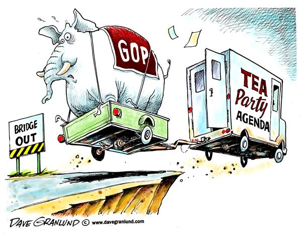 Durante un tiempo en el Partido Republicano se temió que la agenda del Tea Party les marcase tanto que hiciese el partido poco competitivo de cara a las elecciones por el escoramiento. Ilustración de David Granlund