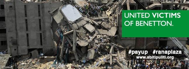 Crítica a la empresa textil y de moda Benetton, que habitualmente fabrica en talleres de países como Bangladesh