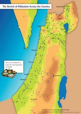Ubicación de los kibutz. Fuente: Kibbutz.org
