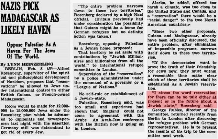 """Resaltado: """"Hago hincapiéen la palabra reserva, ya que no se puede hablar, ni en el presenteni en el futuro, de un Estado judio', dijo [Alfred] Rosenberg"""". Waycross Journal-Herald, 8/2/1939. Fuente: The Rebel"""