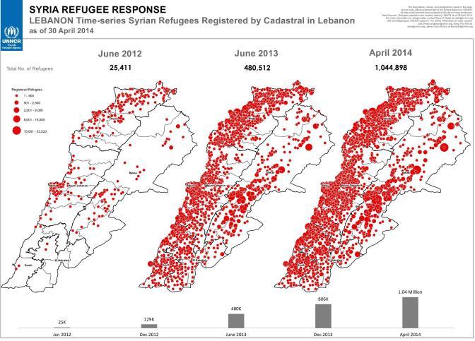 Refugiados sirios registrados en Líbano en los años 2012, 2013 y 2014. Fuente: UNHCR vía ReliefWeb
