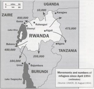 El número de exiliados que dejó el genocidio hutu fue abrumador para la capacidad de los campamentos de refugiados de los países vecinos. Fuente: Feeding Fighters