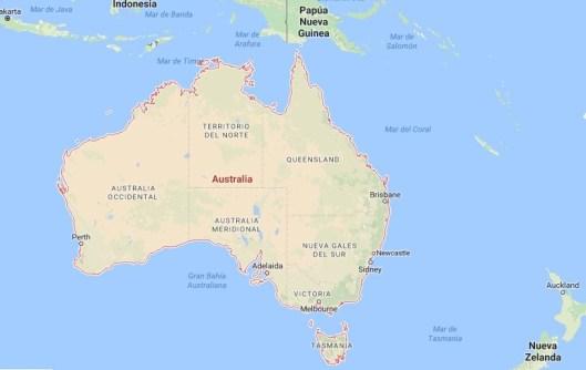 La actual estructura confederada australiana es heredera de las primeras colonias independientes. Fuente: Google Maps