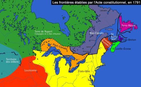 El Acta Constitucional de 1791 dejaba la región de Canadá compuesta por dos provincias: Alto —Haut— Canada, donde habitaba la mayoría anglosajona, y Bajo —Bas— Canadá, habitada por una minoría de influencia francesa. Fuente: Cyberligne