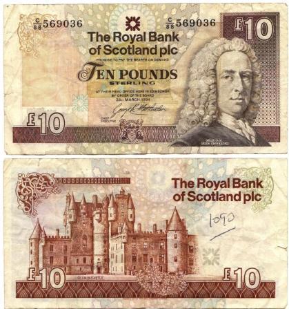 Desde el Acta de Unión, la libra esterlina ha sido la moneda oficial en Escocia. Sin embargo, un vacío legal hace que no exista un billete de curso legal, lo que permite a los bancos privados escoceses imprimir su propio papel moneda. Fuente: Photobucket