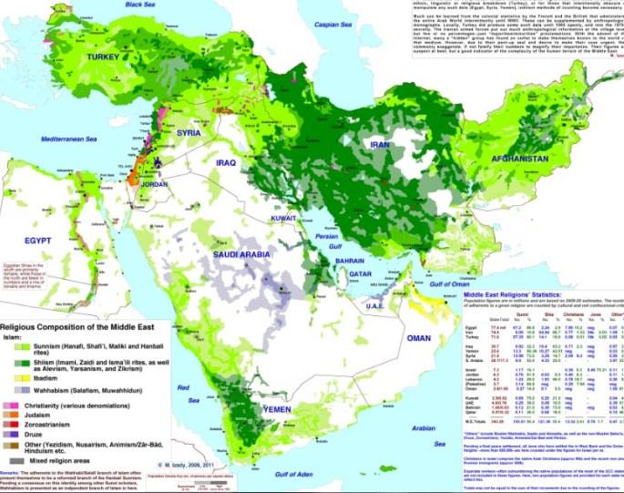 Las divisiones etnorreligiosas de Oriente Próximo. Fuente: The Gulf blog