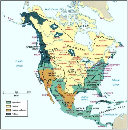 Principales pueblos indígenas de América del Norte y Central y su principal forma de subsistencia antes del colonialismo. Fuente: Vivid Maps