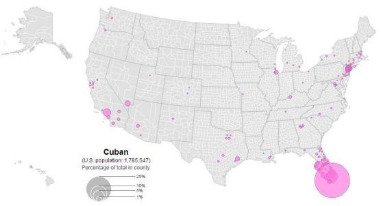Distribución de la población cubana en Estados Unidos (2010). Fuente: El Orden Mundial