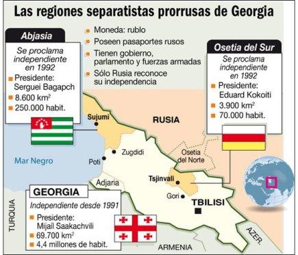 Mapa Georgia Osetia Abjasia Adzharia LaNacion
