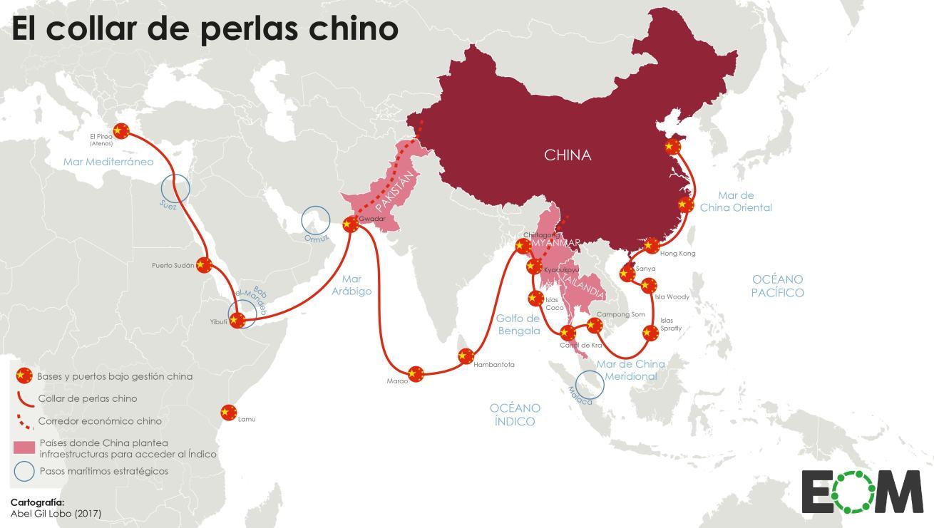 El collar de perlas de China: geopolítica en el Índico