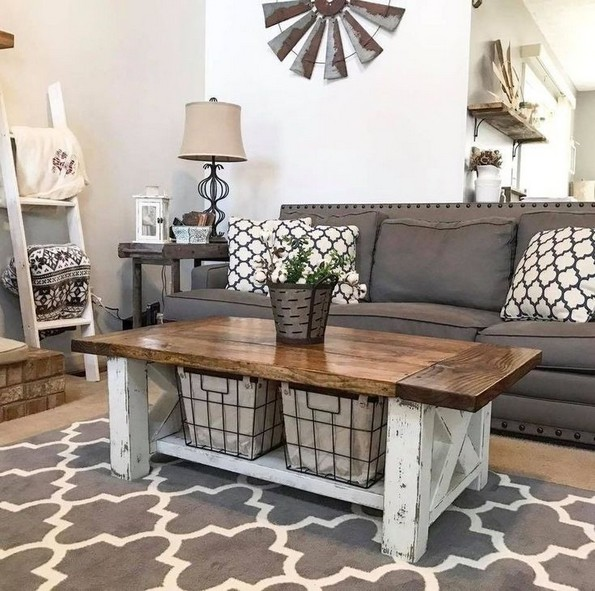 19 Beautiful Farmhouse Coffee Table Design For Living Room 08