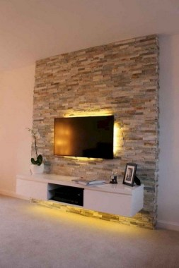 16 Amazing Living Room With Stone Wall Design Ideas 13
