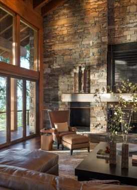 16 Amazing Living Room With Stone Wall Design Ideas 14