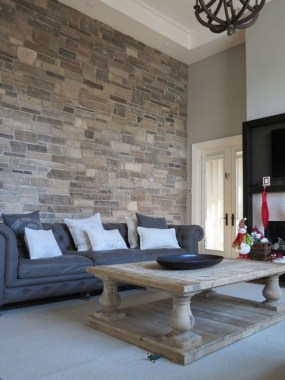 16 Amazing Living Room With Stone Wall Design Ideas 16