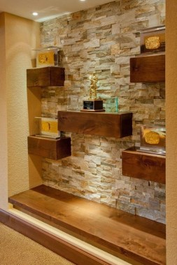 16 Amazing Living Room With Stone Wall Design Ideas 17