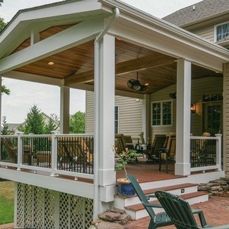 Second Floor Deck With Screened In Porch Design And Stairs 15