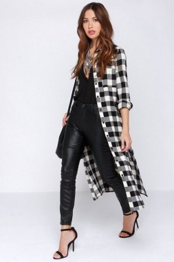 17 Amazing Black White Plaid Shirt Outfits Ideas For Spring 14