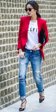17 Cute Red Blazers Outfit Ideas For Girls 05