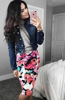20 Lovely Floral Skirt Dresses Outfits Ideas For Spring 2019 21