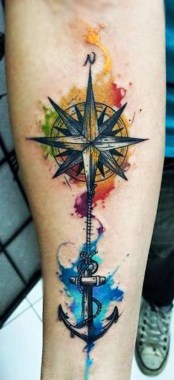 26 Amazing Compass Tattoo Design For Men 01