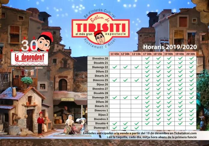Horarios y entradas Tirisiti 2019-2020