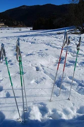 Bastones de esquí en la nieve