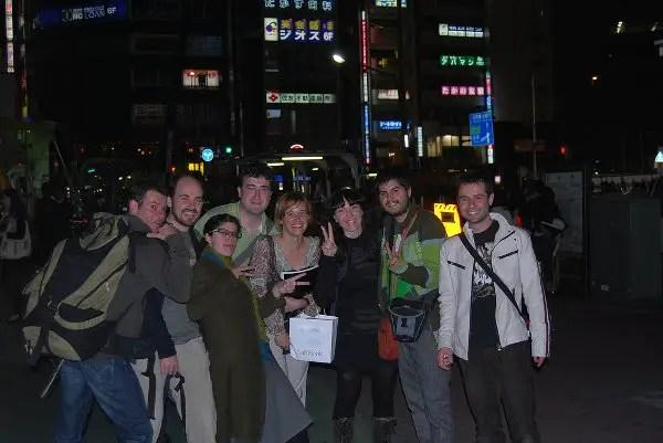 El equipo tras salir del Watami de Gotanda en Tokio