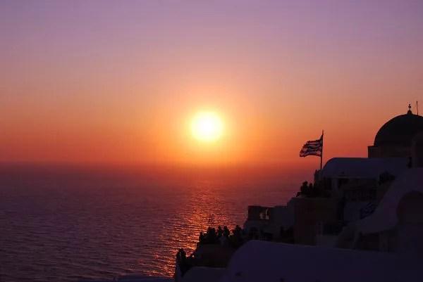 Fotos de Santorini, el sol se pone en Oía