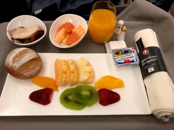 Fotos Turkish Ailines clase business, fruta