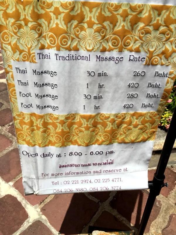 Fotos de Bangkok, precios masajes Wat Pho