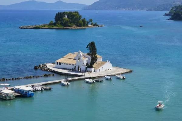 Fotos de Corfu en Grecia, Pontikonisi o isla del Raton
