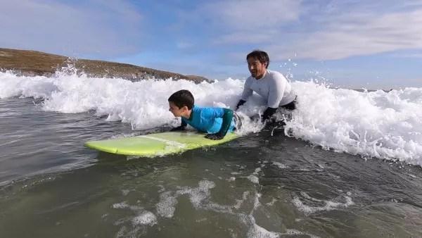 Fotos de Ferrol en Galicia, Teo surfeando en Valdovino