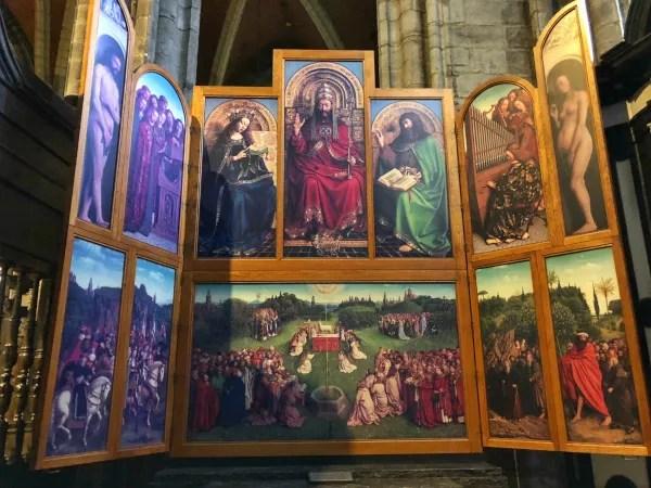 Fotos de Gante en Bélgica, replica Adoración del Cordero Místico