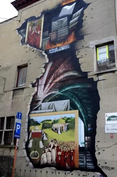 Fotos de Gante, ruta street art cordero mistico