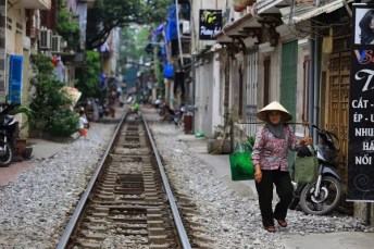 Fotos de Hanoi en Vietnam, vias de tren
