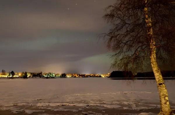 Fotos de Laponia Finlandesa, aurora boreal en el lago