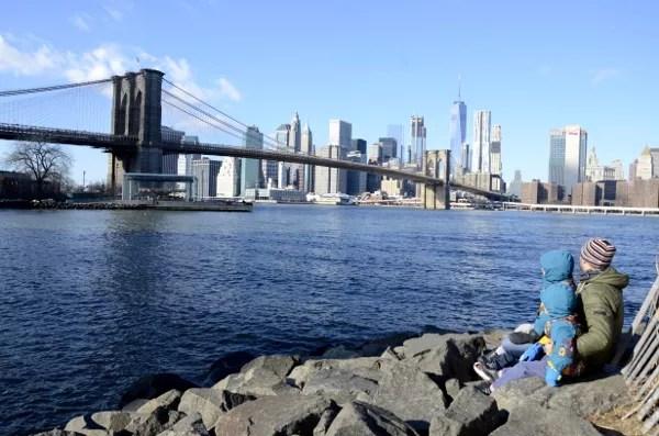 Fotos de Nueva York, Teo, Oriol y Pau en el puente de Brooklyn