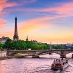Fotos de Paris, Torre Eiffel y barco Sena al atardecer