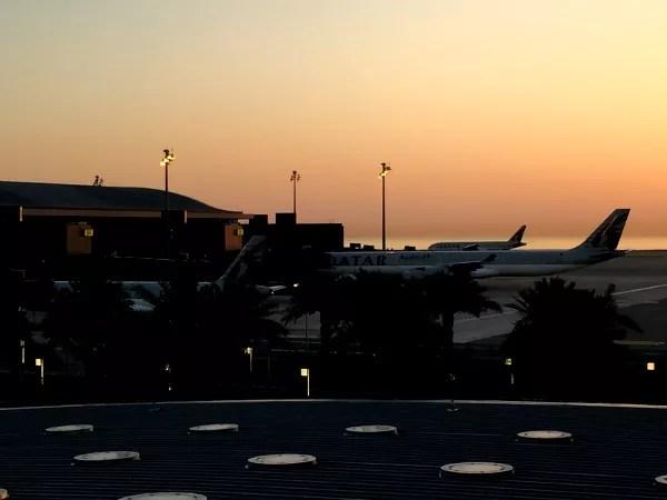 Fotos de Qatar Airways, amanecer en Doha