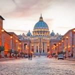 Fotos de Roma, Basilica de San Pedro en el Vaticano al atardecer