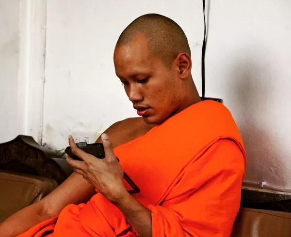Fotos de gente de Bangkok, monje budista