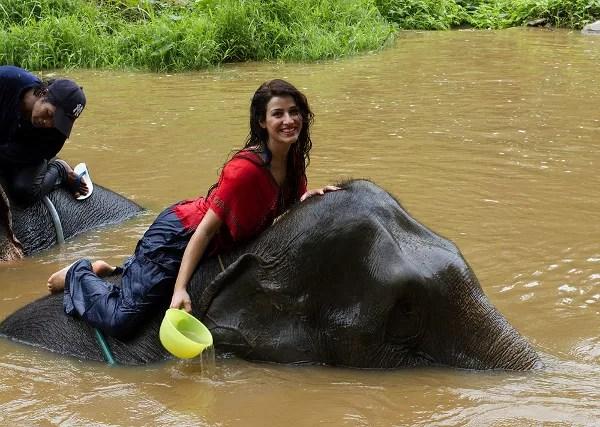 Fotos de viajes a Tailandia con niños y Naai Travels, elefantes y rio