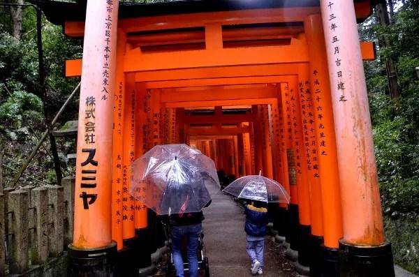 Fotos del Fushimi Inari de Kioto, Vero, Teo y Oriol en los torii